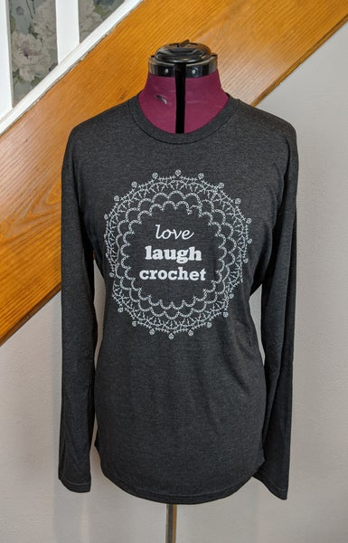 Image of Love Laugh Crochet Long Sleeve Tshirt