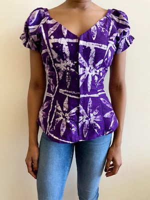 Image of Reconstructed Vintage African Print Top - S