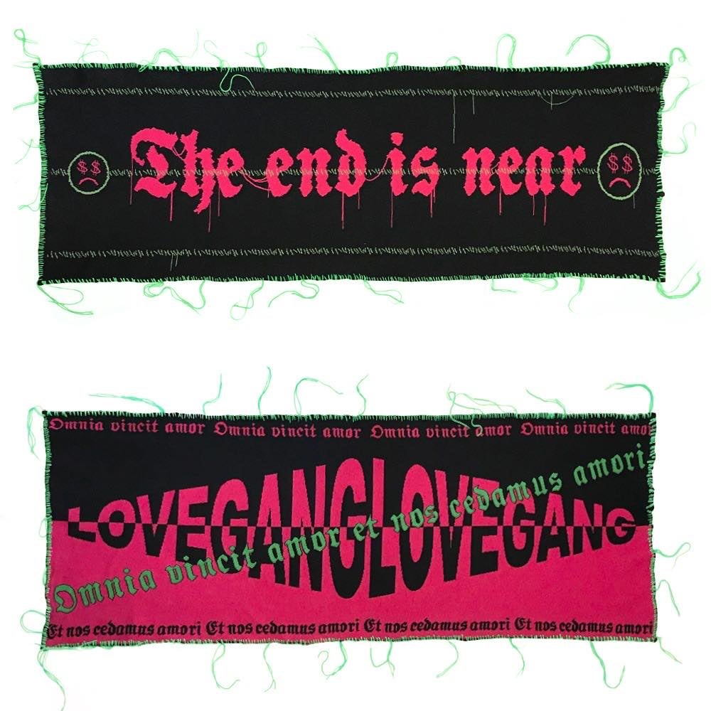 Image of LOVEGANG X THE END IS NEAR OVERSIZED STREET SCARF