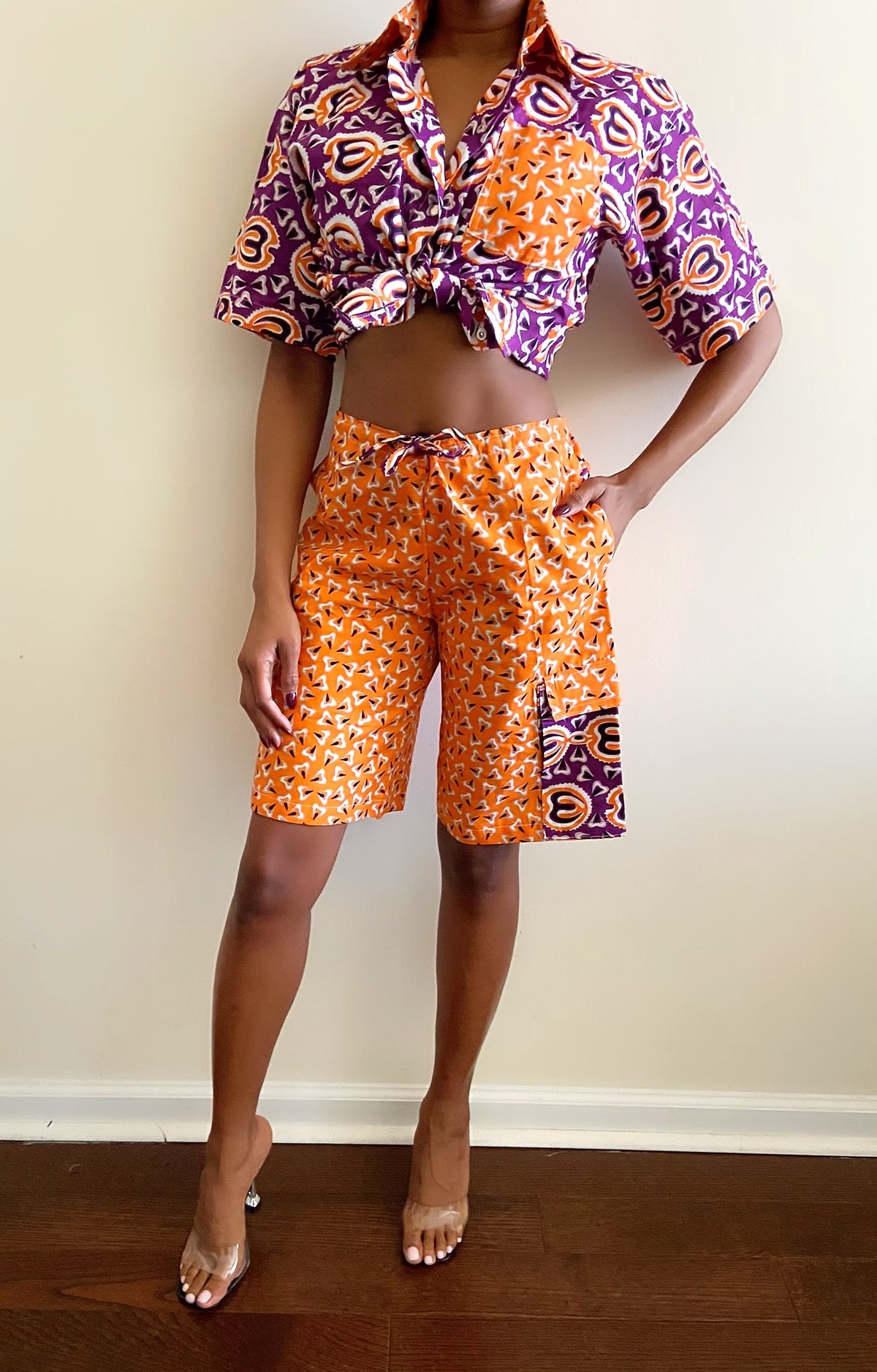 Image of Vintage Printed 2-Piece Shorts Set - S/M