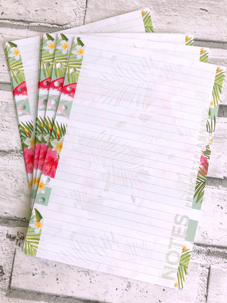 Image of A5 LINED FLAMINGO ORGANISER NOTE PAPER REFILL INSERT