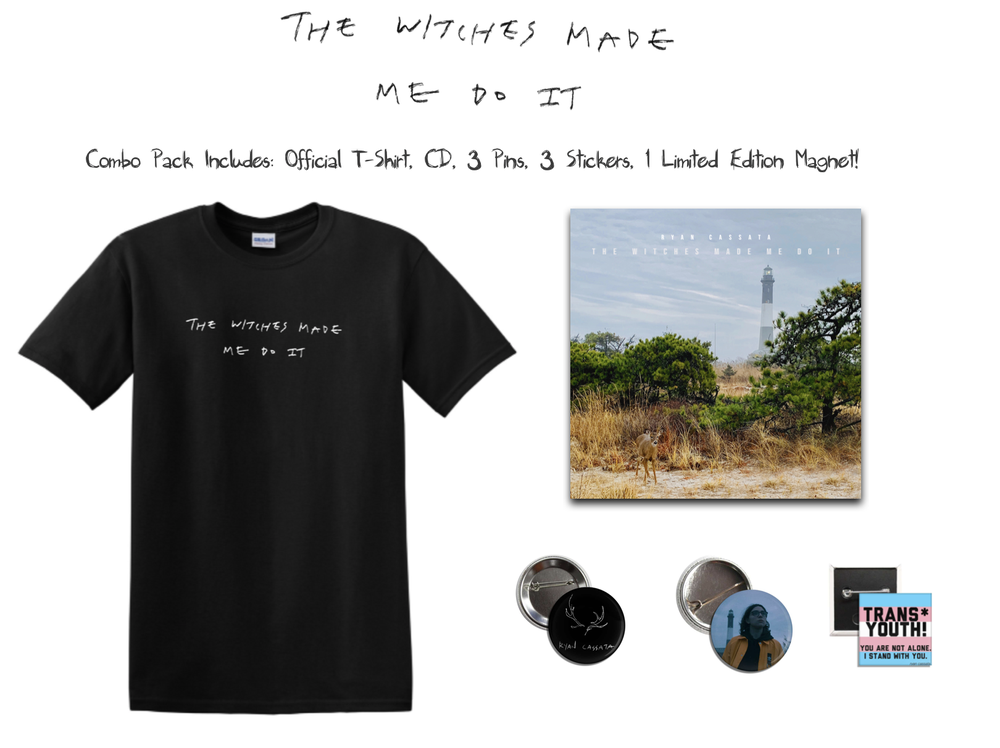 Image of Witches Combo Pack: T-Shirt, CD, 3 Pins, 3 Stickers, 1 Limited Edition Magnet!