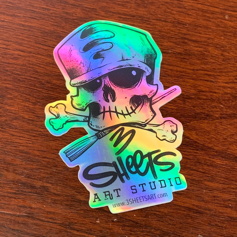 3 Sheets Bone & Brush HOLO Sticker
