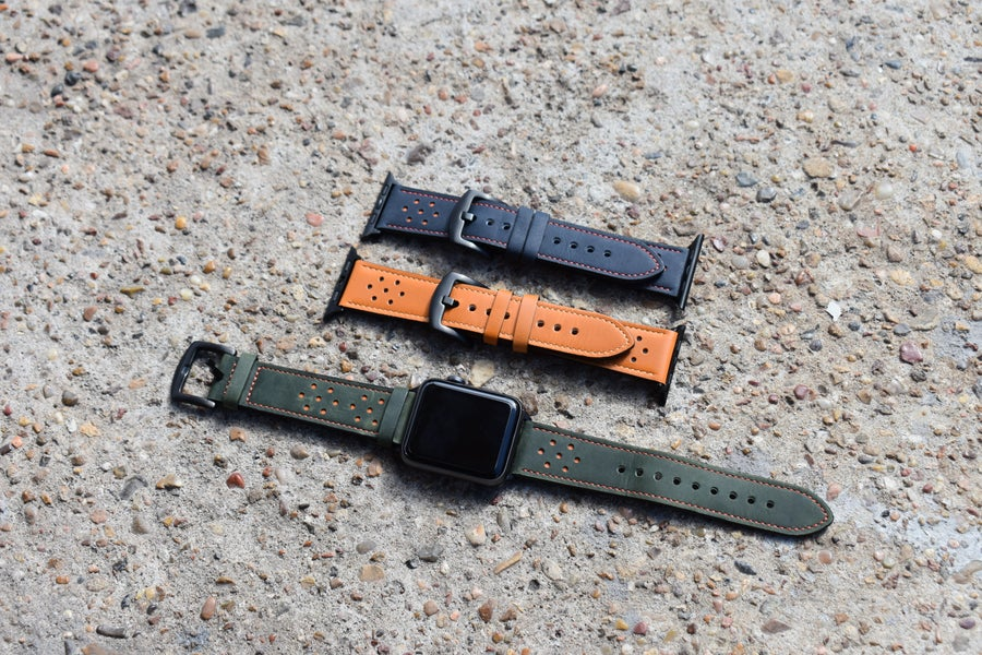 Image of Olive Green & Orange Leather Apple Watch Band