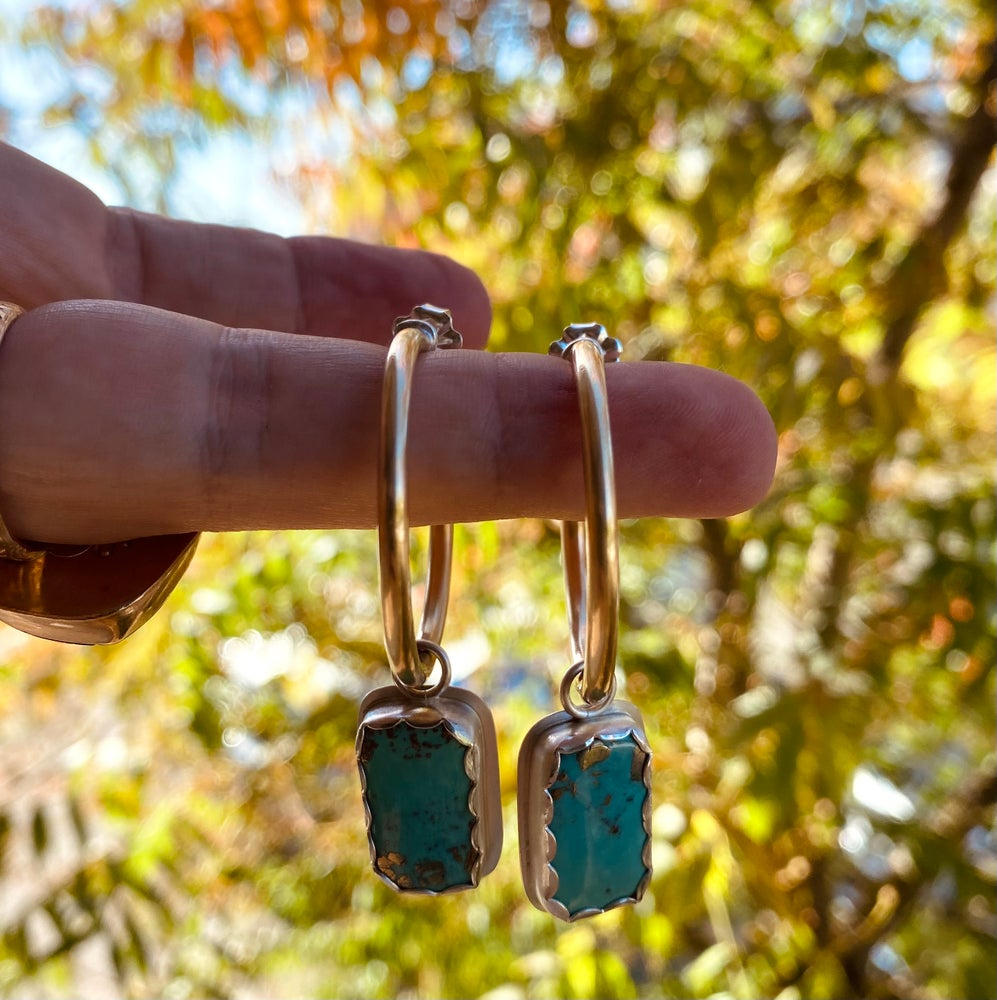 Image of Brass Post Hoops + Turquoise and Pyrite Bars