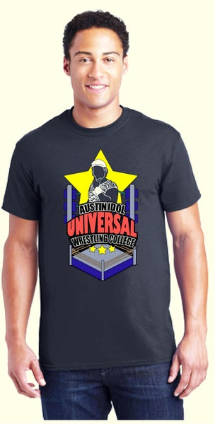 Image of Official Austin Idol Universal Wrestling College Tee