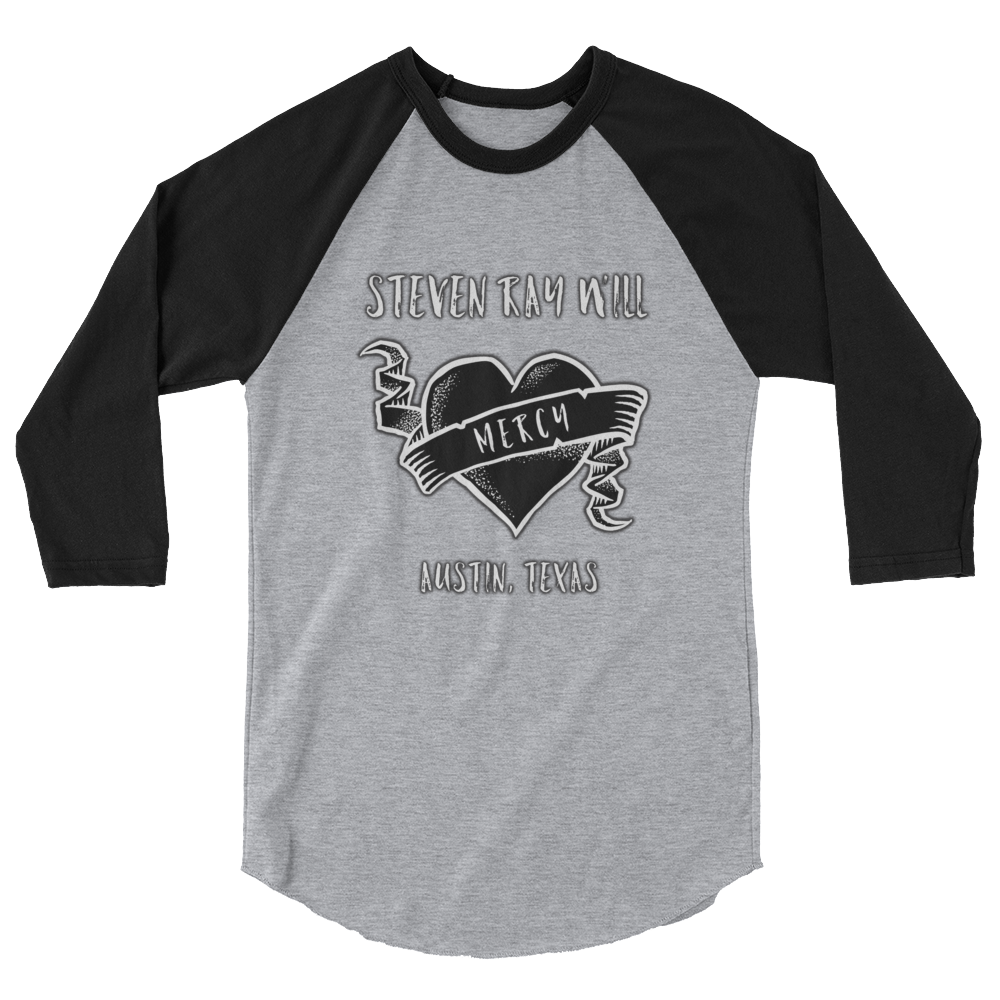 "Image of ""Mercy"" Baseball T Black/Gray or White/Black"