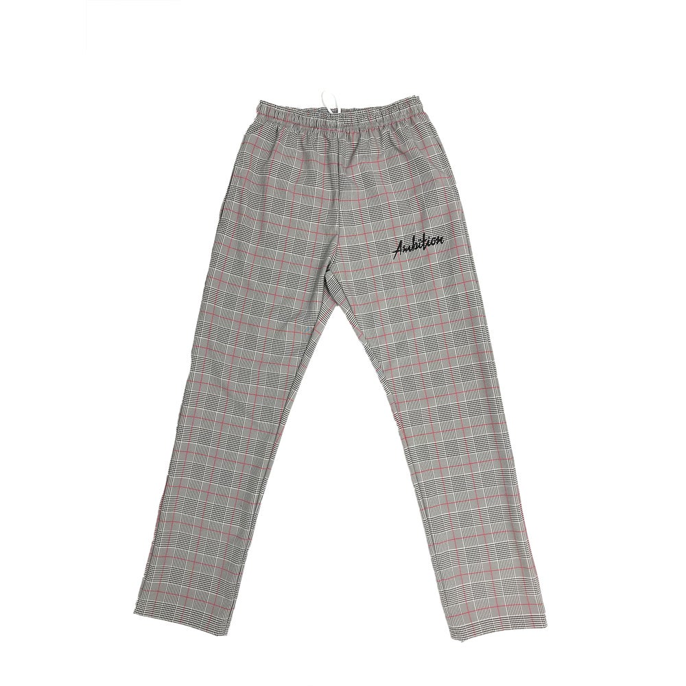 Image of Plaid Pants script red