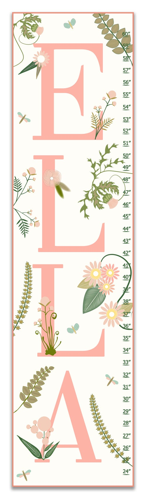 Image of Blush Pink Girl's Canvas Growth Chart - Personalized Floral Nursery Art