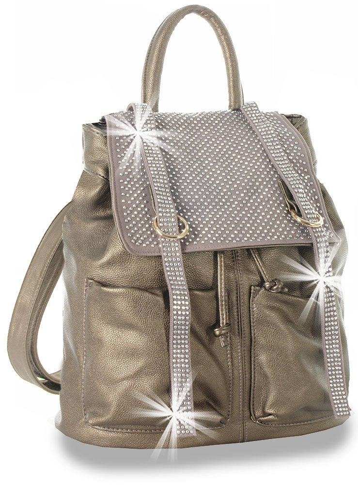 "Image of ""Sparkling"" Rhinestone Accent Fashion Backpack"