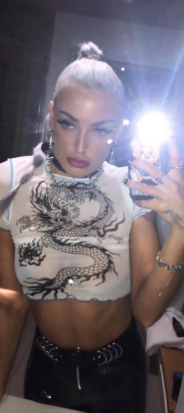 Dragon tattoo Print mesh crop top