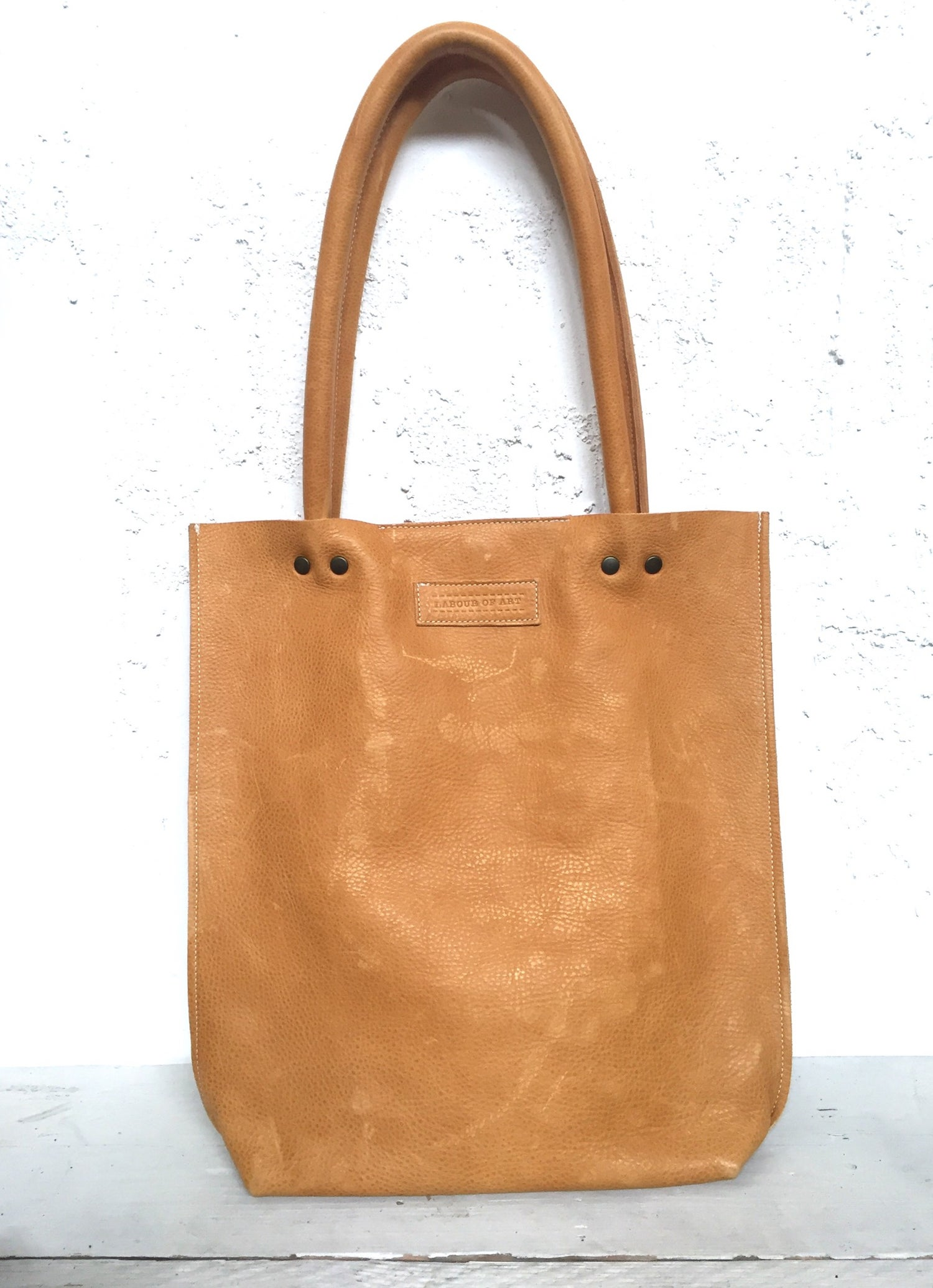 Image of Honey Colored Leather Shopper Bag