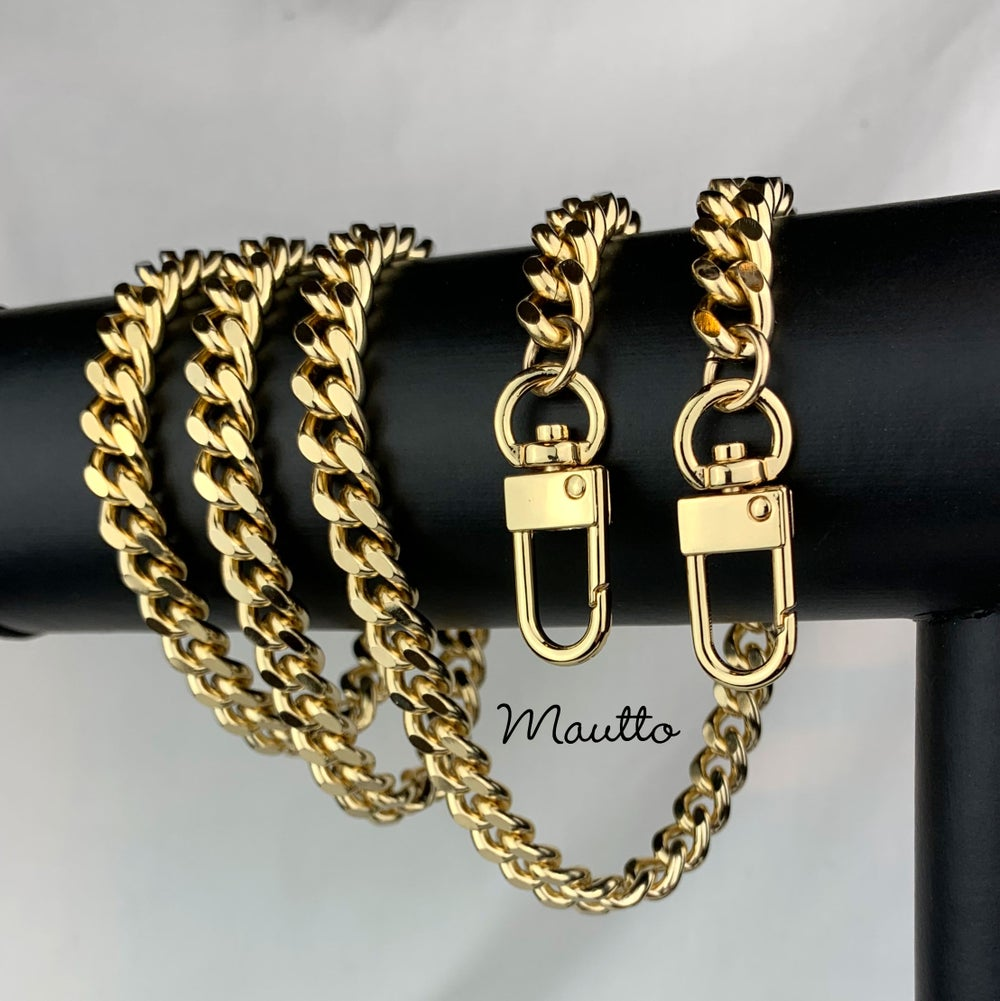 "Image of GOLD Chain Bag Strap - NEW Classy Curb with Diamond Cut Accents - 3/8"" Wide - Choose Length & Clasps"