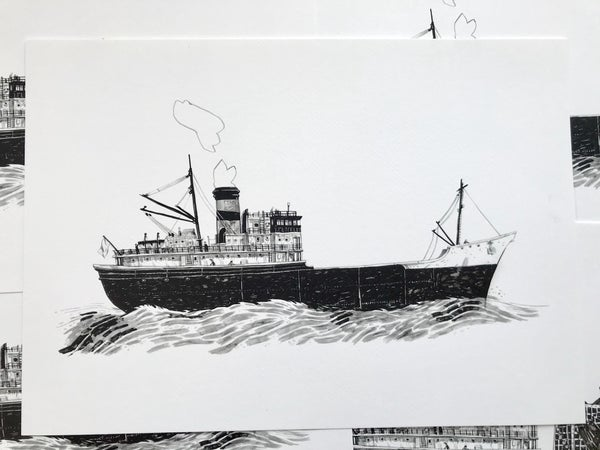 Image of Tramp Steamer and hand drawn cargo of choice.