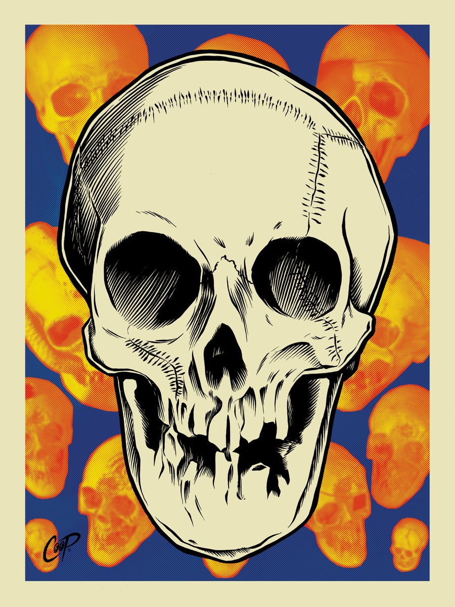Image of VOODOO GLOW SKULL Silkscreen Print (glows in the dark!)