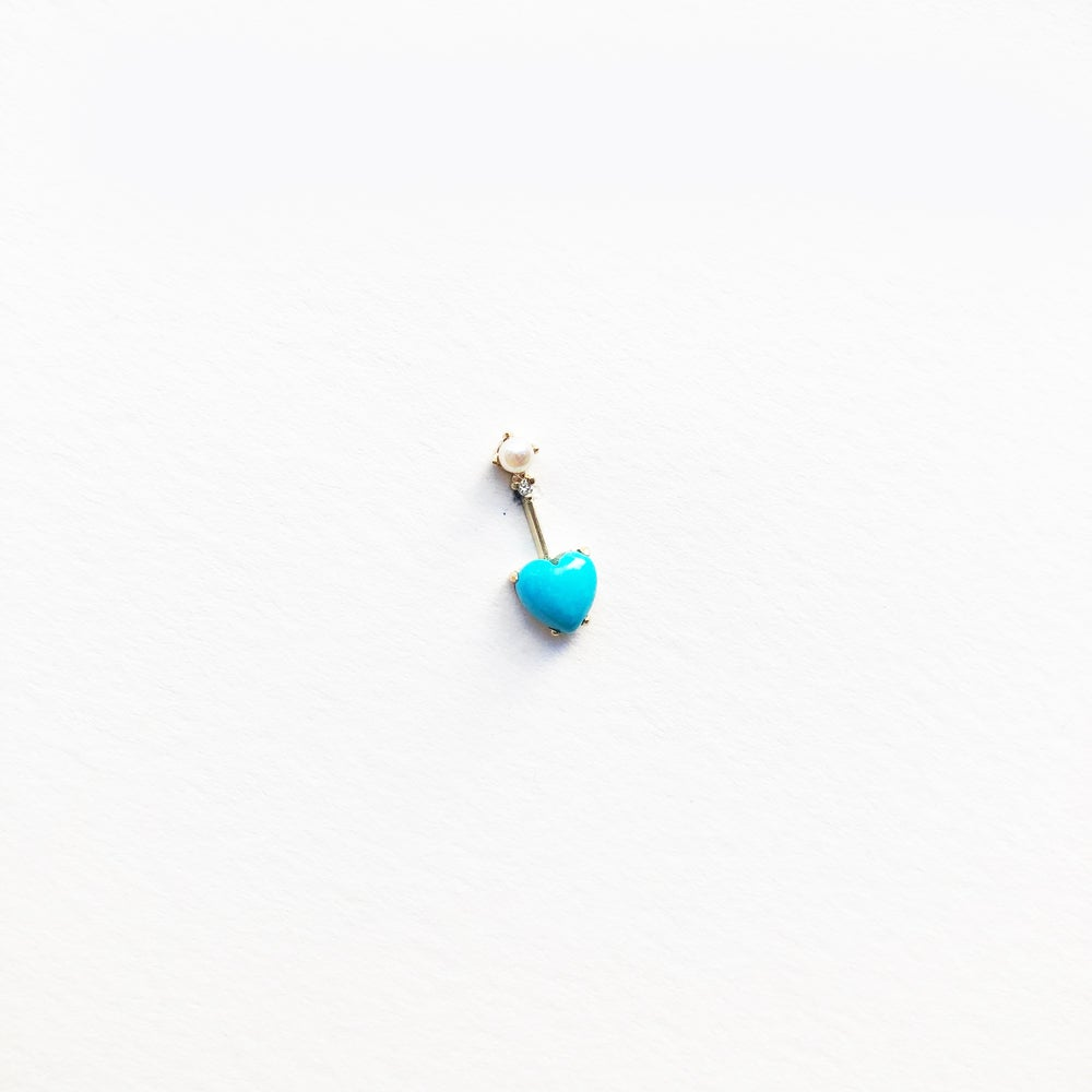 Image of Turquoise Heart Mini Bar Earring