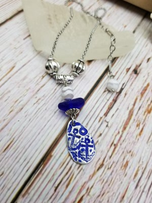 Image of Fine Silver-Handmade Pendant- Sea Glass- Necklace- #298