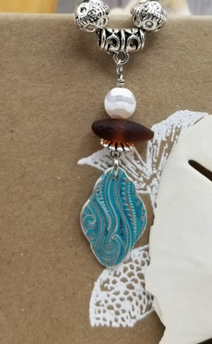 Image of Fine Silver- Handmade- Sea Glass- Necklace- #300