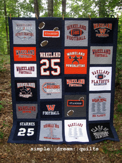 Image of DEPOSIT payment for custom graduation quilt, college dorm quilt, memory quilt, t-shirt quilt....