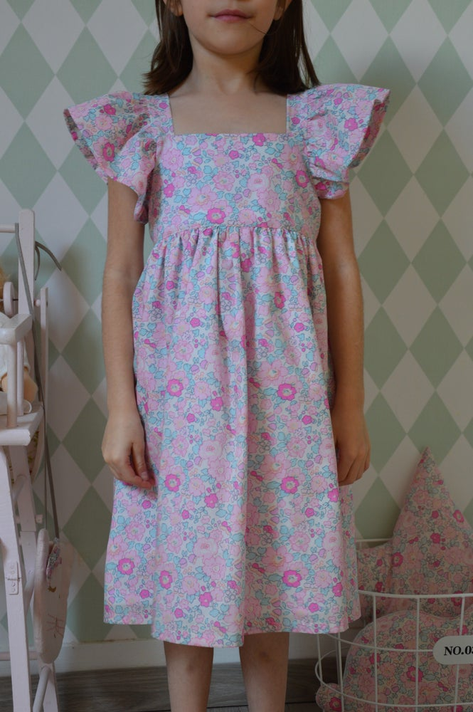 Image of robe en Liberty Betsy amelie manches papillons
