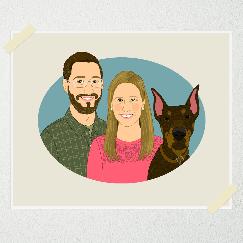 Image of Custom couple portrait with pet.