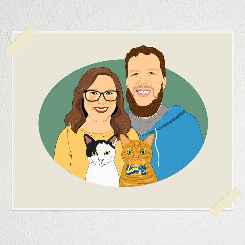 Image of Couples portrait with 2 dogs or cats.