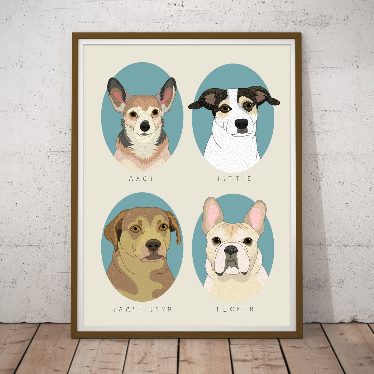 Image of 4 pet portraits. Dogs or Cats.