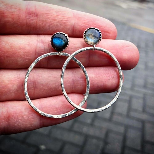 Image of Labradorite hoop earrings