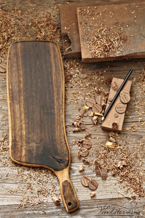 Image of Charcuterie serving board, cheese serving board - ebonized oak