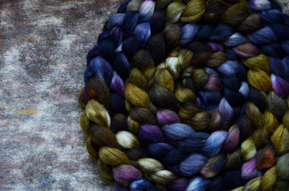 "Image of ""INK"" 85/15 Mixed BFL/Tussah Silk - 4 oz. - PRE-ORDER"