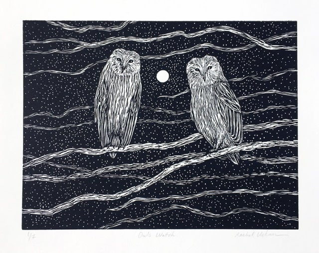 Image of Owls watch ~ relief print