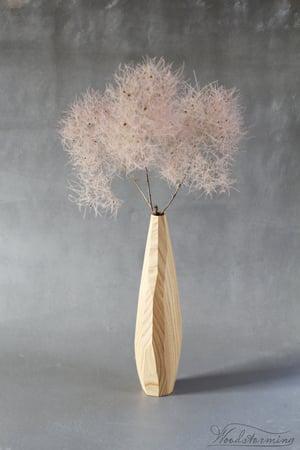 Image of Wavy faceted ash wood vase, hygge home decor, wabi sabi vase