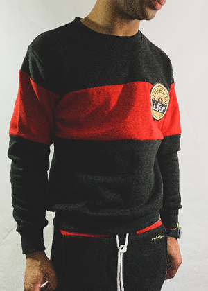 Image of LIFER COLORBLOCK SWEATSUIT (BLACK/RED)