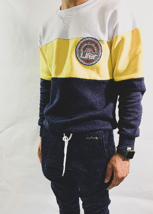 Image of LIFER COLORBLOCK SWEATSUIT (NAVY/CANARY)