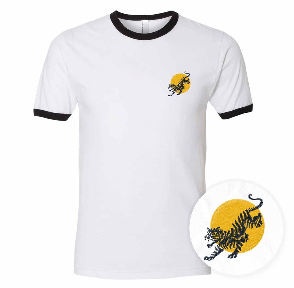 Image of Tiger Sun - Embroidered Ringer T-shirt