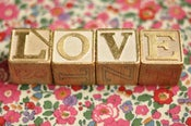 Image of LOVE set of gilded letter blocks