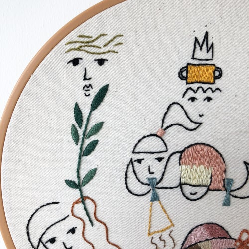 Image of Sunday on the playground - one of a kind hand embroidered wall hanging, 8'' hoop