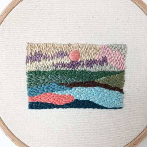 Image of Sunset scenery - one of a kind hand embroidered wall hanging, 5'' hoop