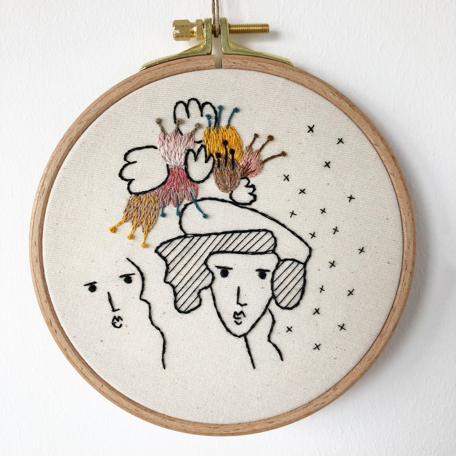 Image of You, me and all all the great ideas - one of a kind hand embroidered wall hanging, 5'' hoop