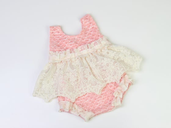 Image of Newborn Knit, Lace & Silk Top & Knickers Set