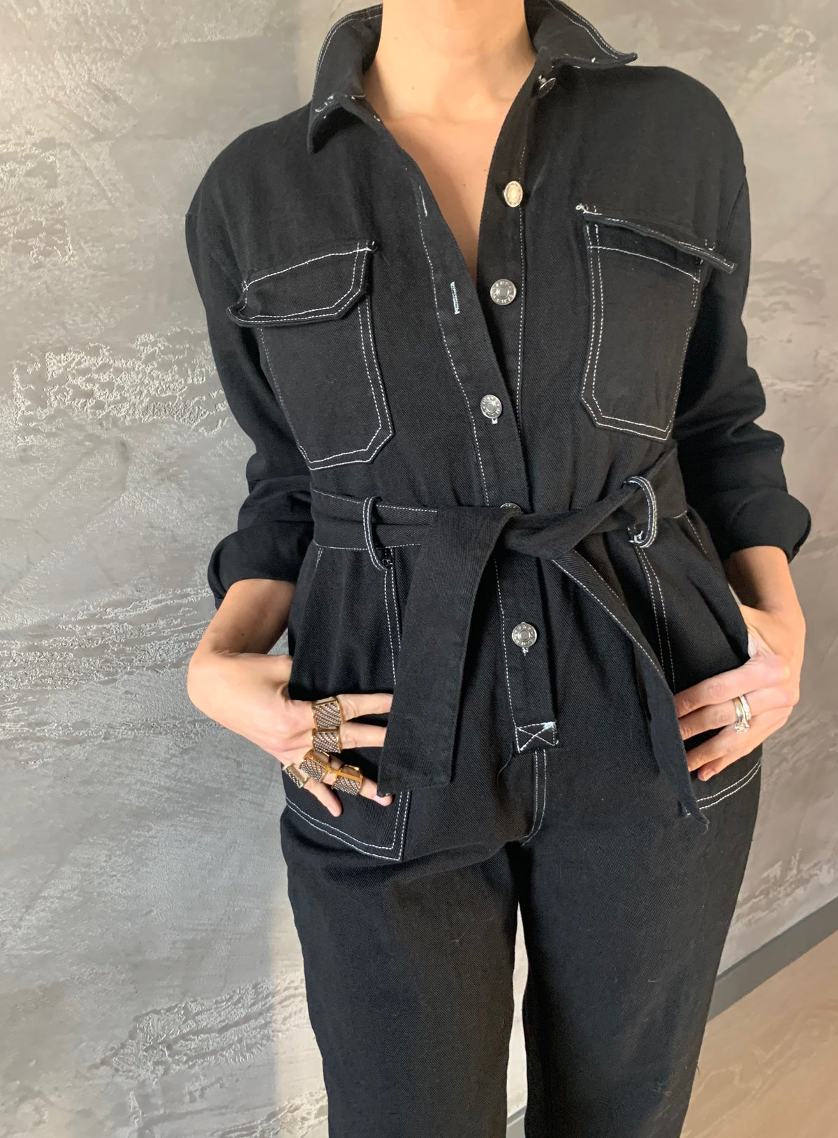Image of TUTA IN DENIM NERO