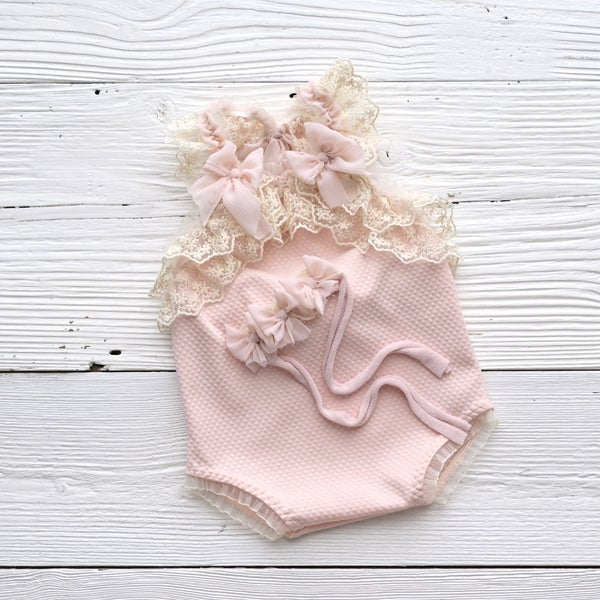 Image of Gwen pink romper or headband /two sizes