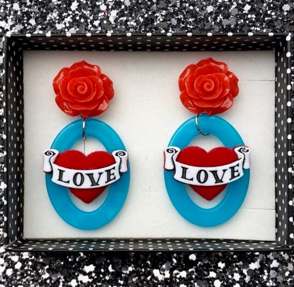 Image of  Rockabella Rosie Love Hearts Earrings