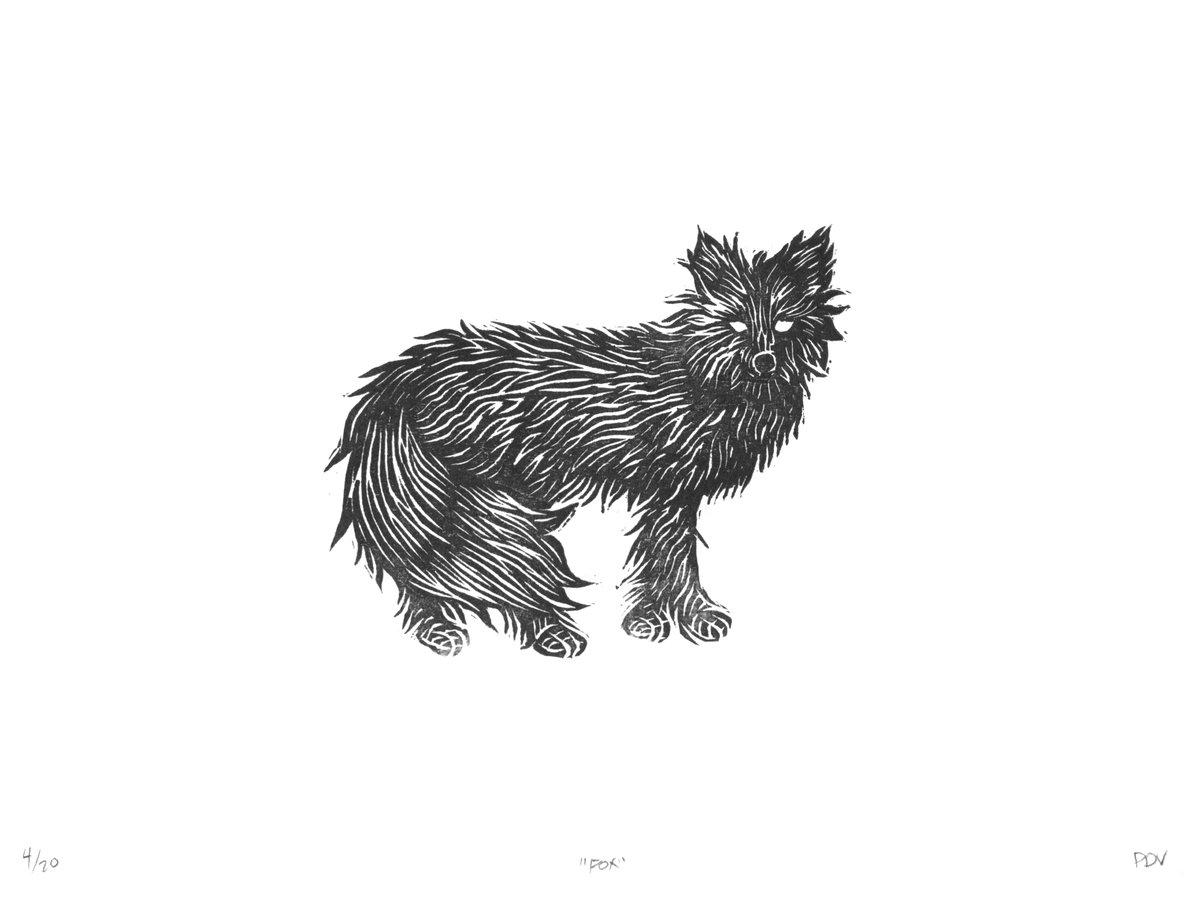 Image of Fox Woodcut