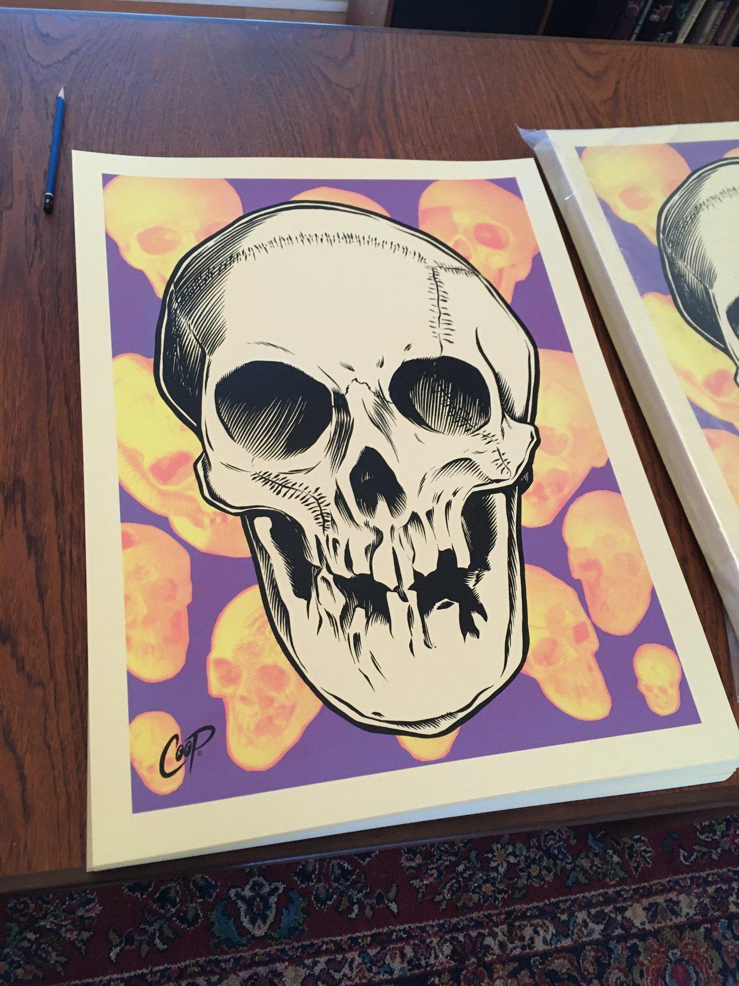 Image of VOODOO GLOW SKULL Silkscreen Print (glows in the dark!)