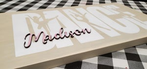 Image of Sport Text with 3D Name Wood Sign