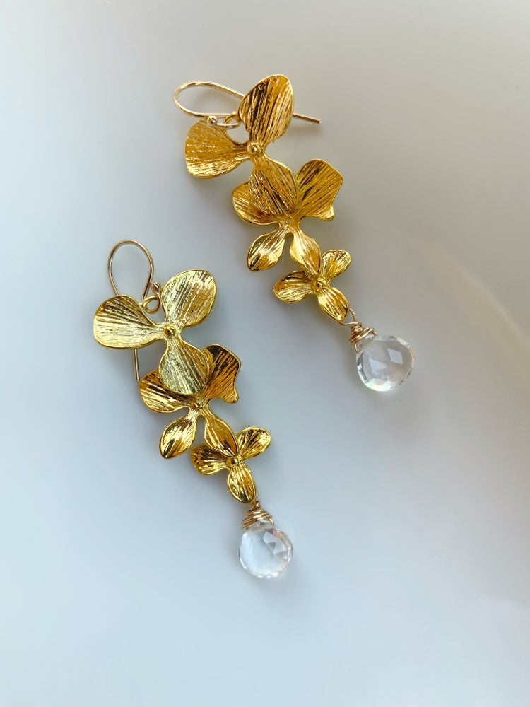 Image of Golden flower earrings