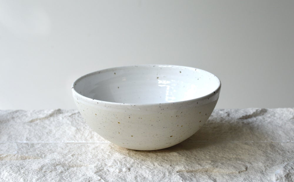 Image of White Speckle Stoneware Bowls- In Stock