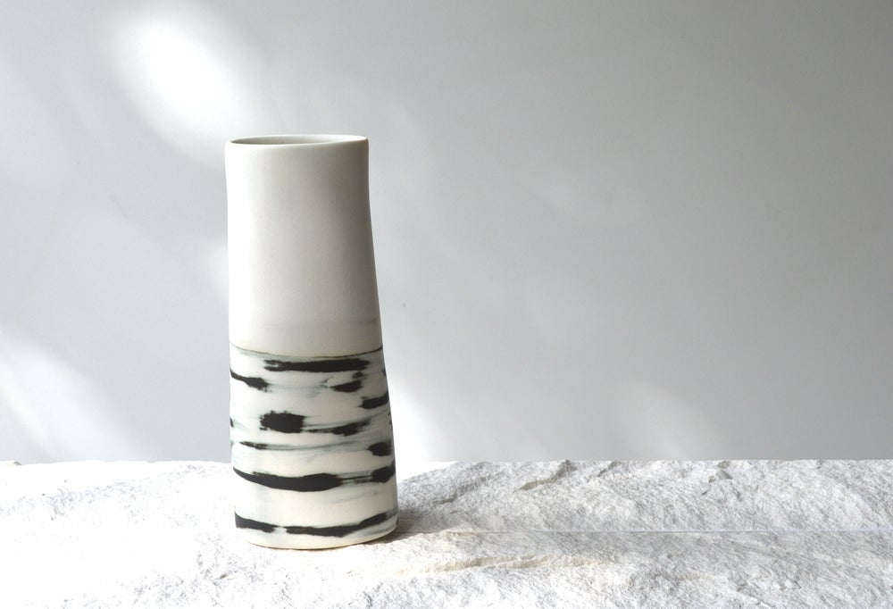 Image of With Vase with Black Shibori Glaze - In Stock