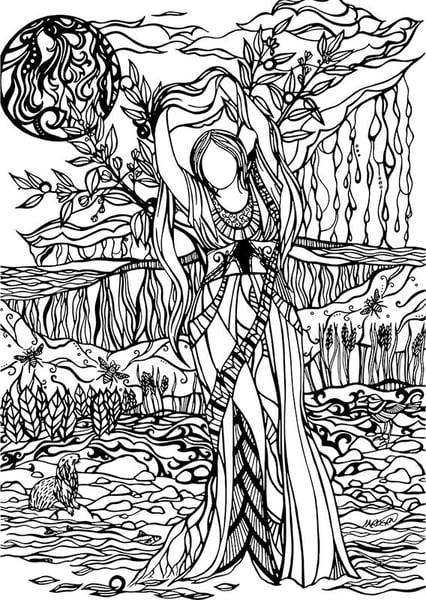 Image of Lifting the Veil Framed Original Illustration